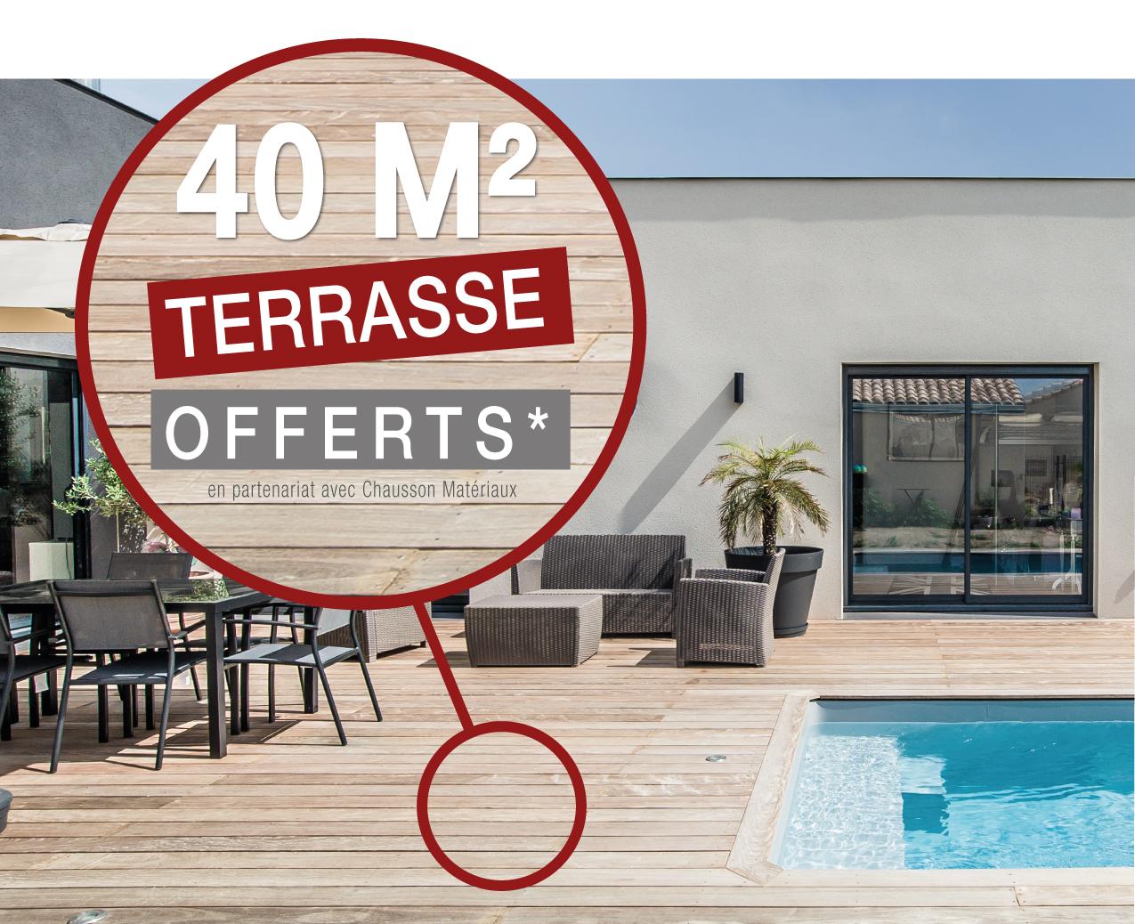 40 m² de terrasse bois offerts pour 1€ de plus !