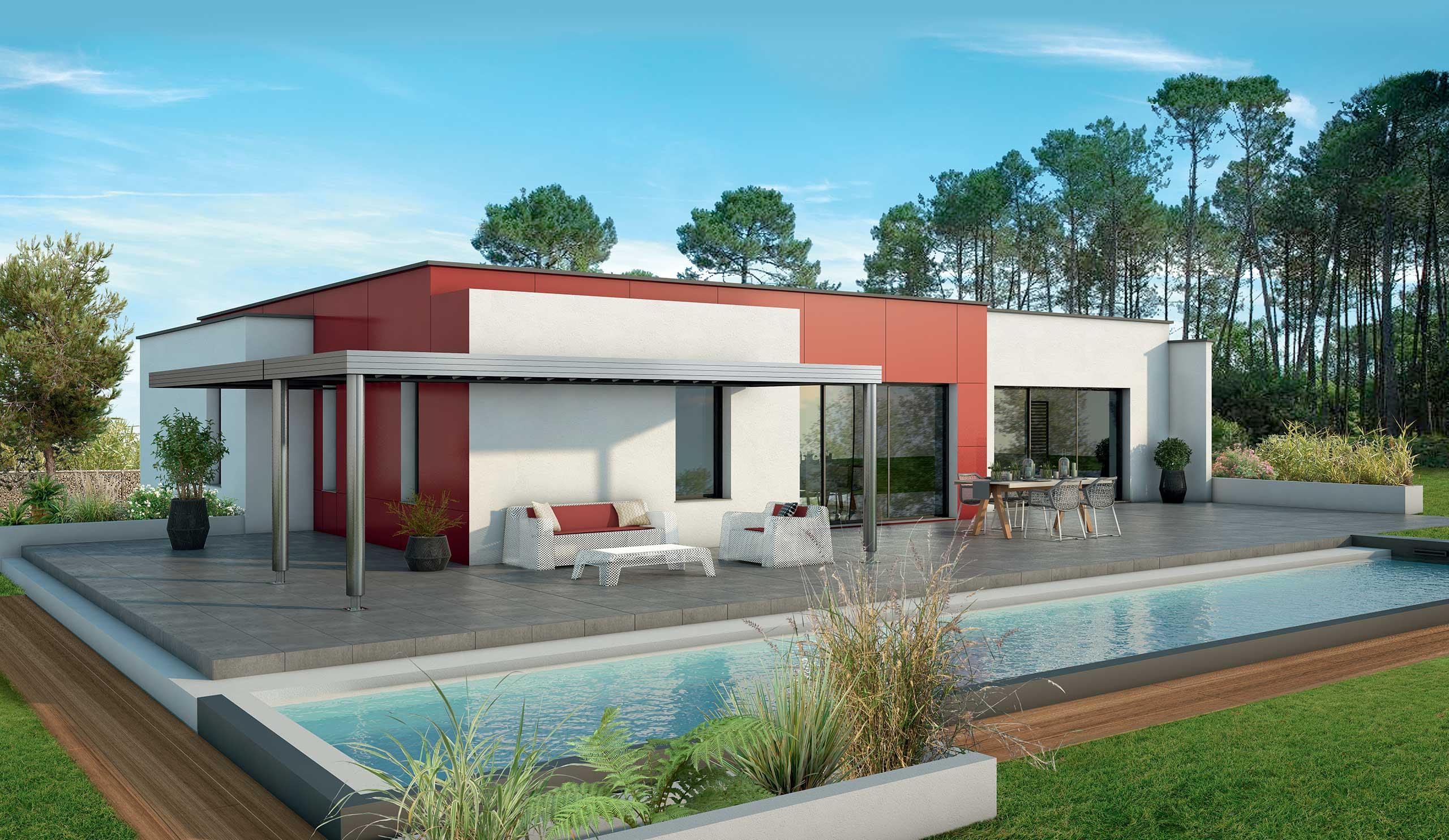 Maison Contemporaine Plain Pied Acajou Avec Plans Demeures D Occitanie Constructeur Maison Individuelle Occitanie Region Sud