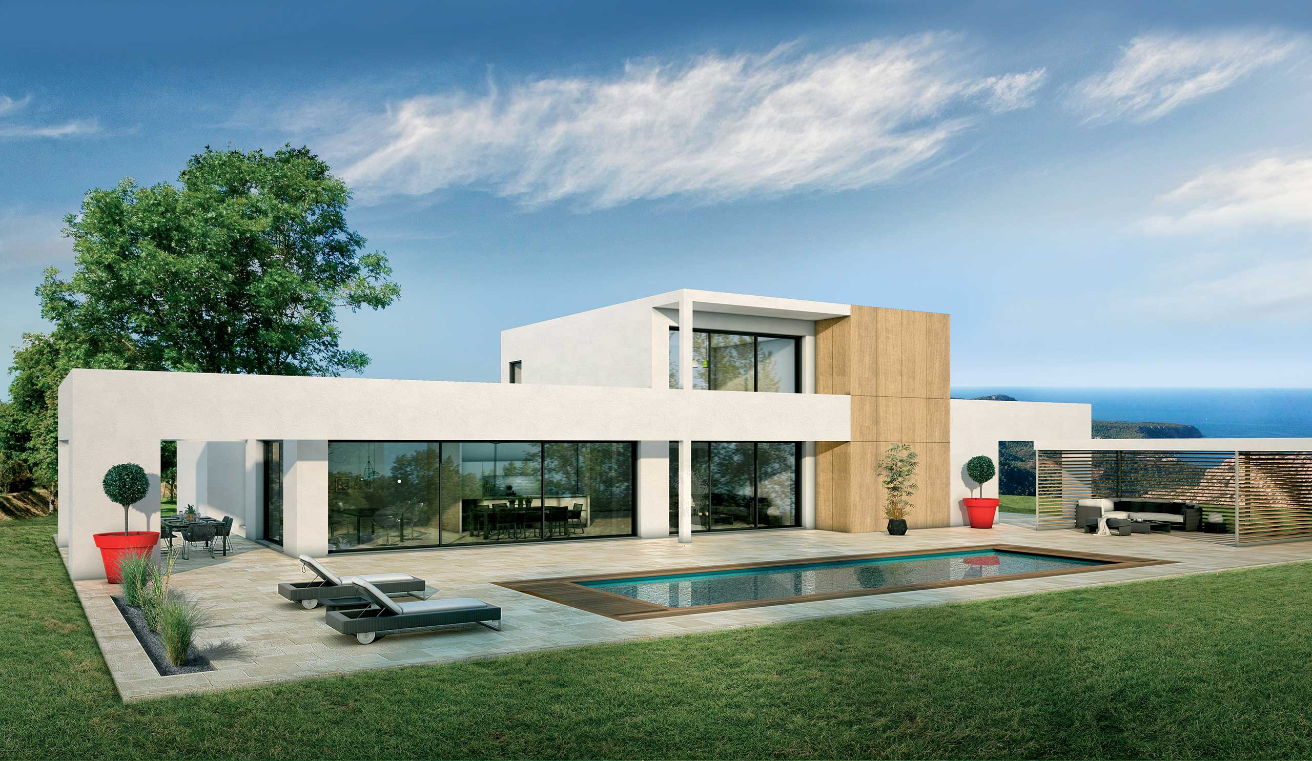 Constructeur De Maison Gers maison contemporaine Étage séquoia avec plans - demeures d