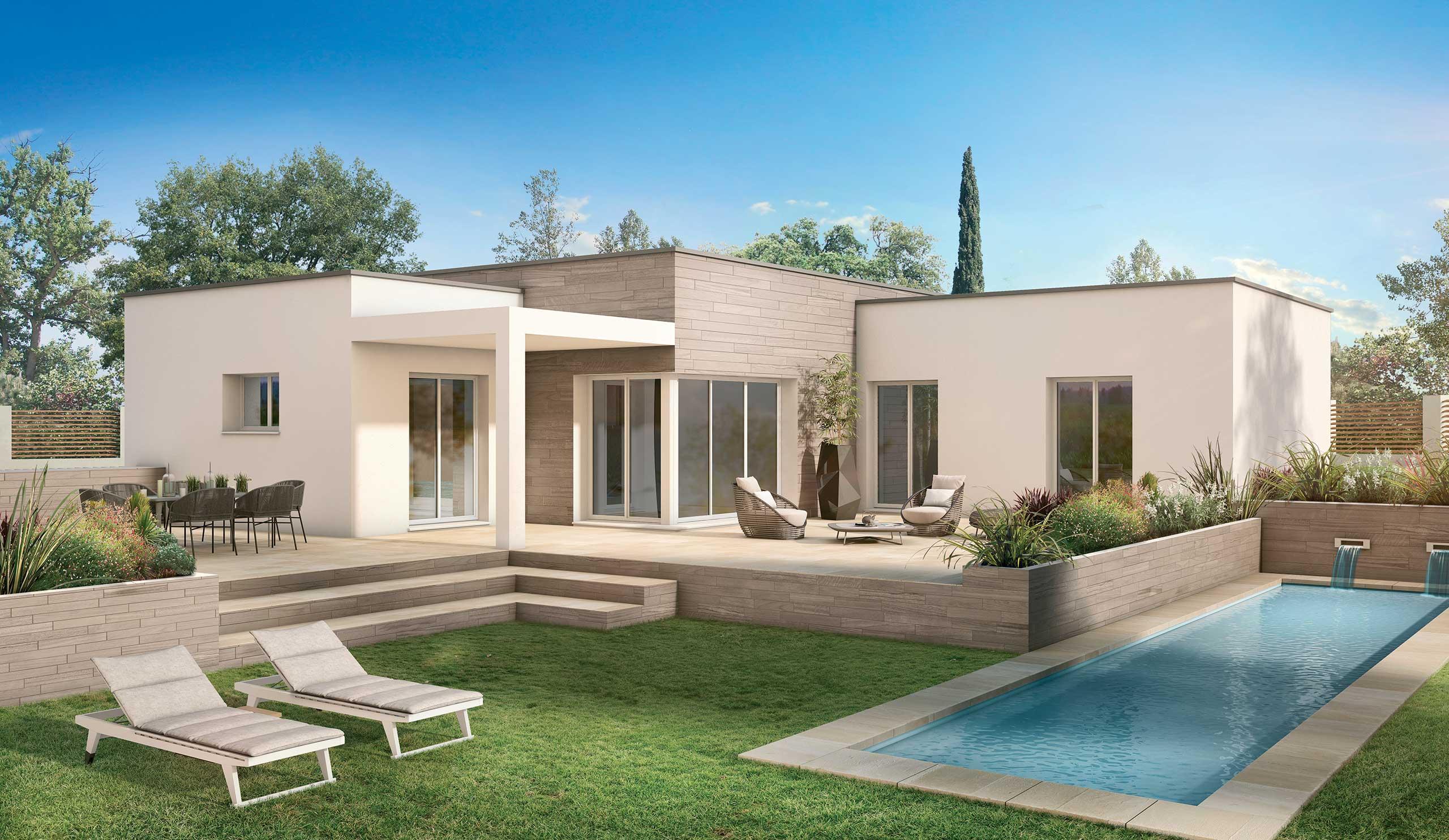 Maison Contemporaine Plain Pied Seringat Avec Plans Demeures D Occitanie Constructeur Maison Individuelle Occitanie Region Sud