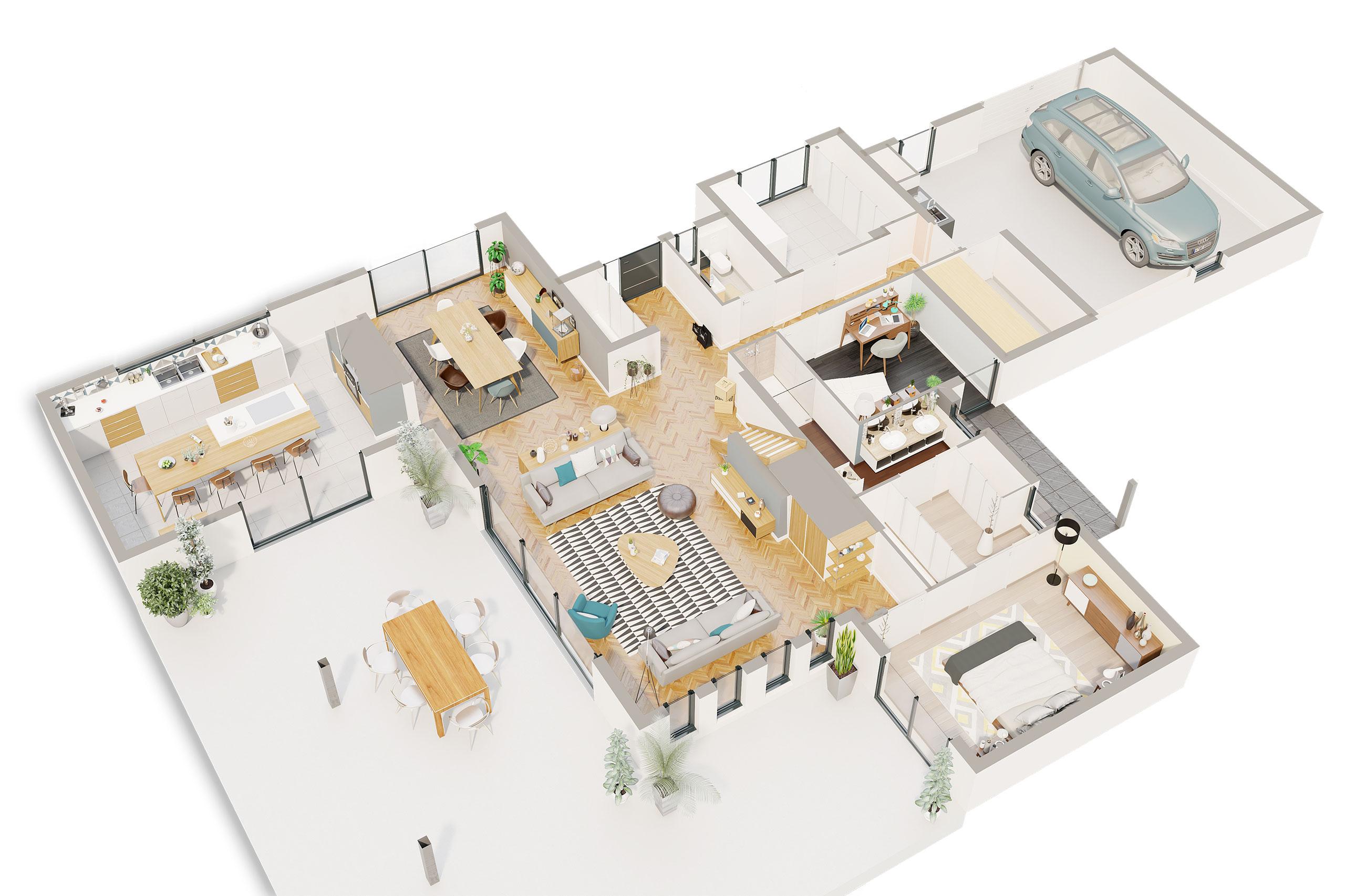 Maison contemporaine Étage Albizia avec plans - Demeures d'Occitanie Constructeur maison ...