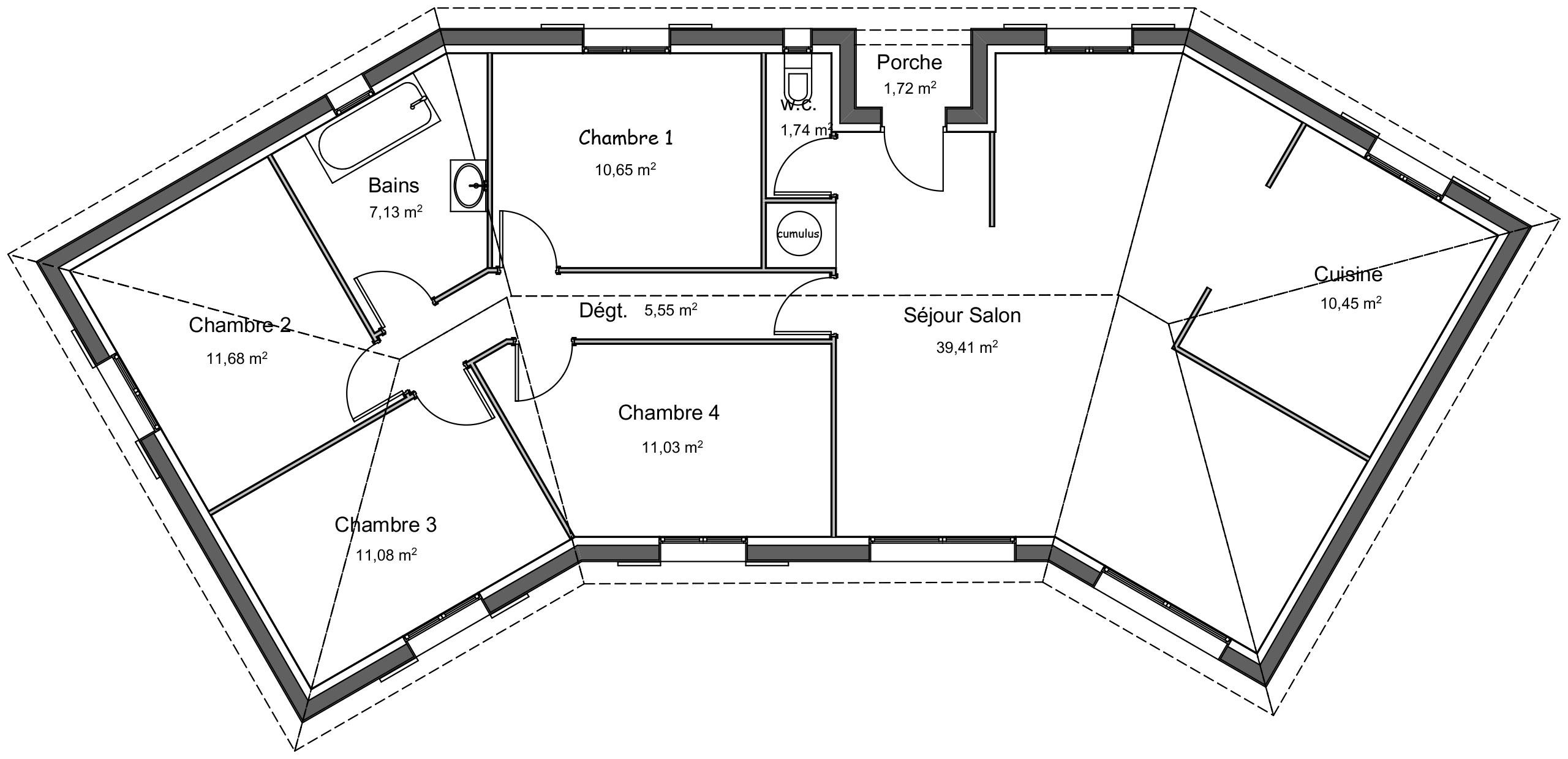 Plan Porte À Galandage ancien modèle maison contemporaine cèdre - demeures d