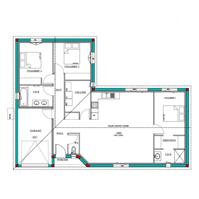 Plan maison Meleze traditionnelle 100m²