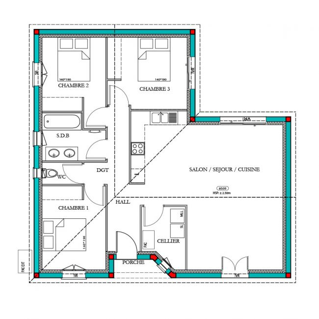 Plan maison Meleze traditionnelle 85m²