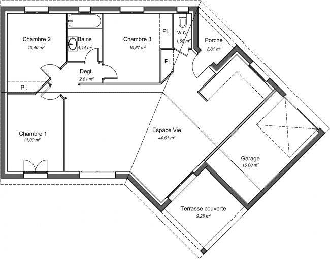 Plan de maison contemporaine 85 m² - Ebene