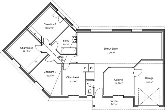 Plan de maison contemporaine 99 m² - Ebene
