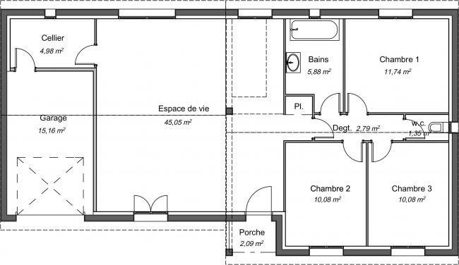 Plan de maison contemporaine de 92 m² avec garage - Lilas