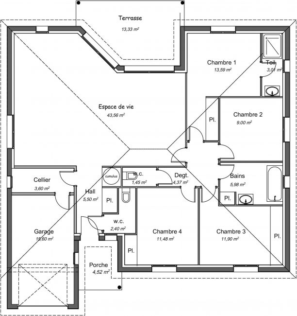 Plan de maison contemporaine de 112 m² - Orme