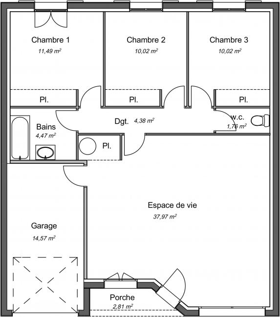 Plan de maison traditionnelle plain-pied 80 m² - Philao